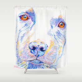 Lotte, the rescue dog Shower Curtain