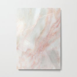 Softest blush pink marble Metal Print