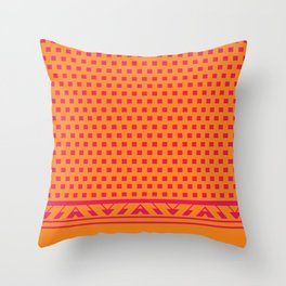 Square Dots Pop | pumpkin orange hot pink Throw Pillow