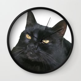 Relaxed Black Cat Portrait Vector Isolated Wall Clock