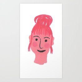 """""""Vicky"""" girl with bun and rosy cheeks Art Print"""