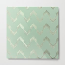 Simply Deconstructed Chevron in White Gold Sands and Pastel Cactus Green Metal Print