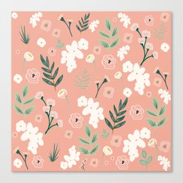 Spring Floral in Blush Pink and Spring Green Canvas Print