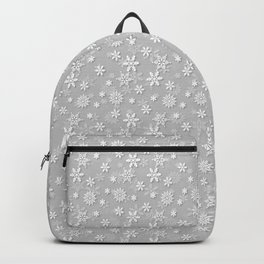 Festive Silver Grey and White Christmas Holiday Snowflakes Backpack