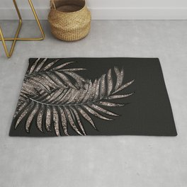 Gray Black Palm Leaves with Rose Gold Glitter #4 #tropical #decor #art #society6 Rug
