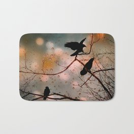 Rainy Day Crows Bath Mat