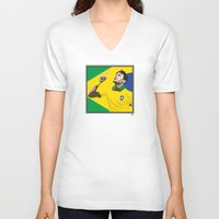 neymar V-neck T-shirts featuring Neymar Brasil 2 by lockerroom51