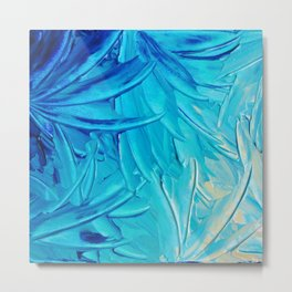 WATER FLOWERS - Beautiful Water Ocean Theme Shades Blue Floral Modern Design Abstract Painting Metal Print