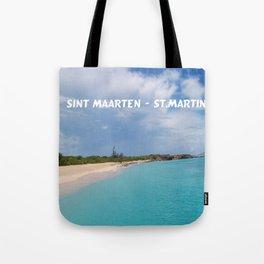 Tropical sandy beach of Sint Maarten - St. Martin Tote Bag