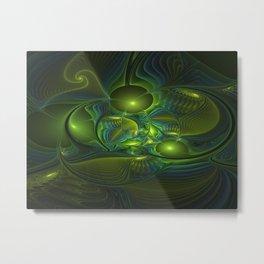 Luminous Abstract Fractal Art, A Blue Green Fantasy Metal Print