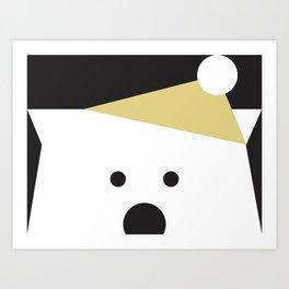 Peek-a-Boo Bear with Golden Hat Art Print