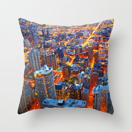 Chicago Sunset- Mixed Media Throw Pillow