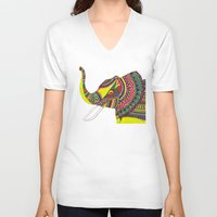 allison argent V-neck T-shirts featuring Allison Elephant by Laura Maxwell