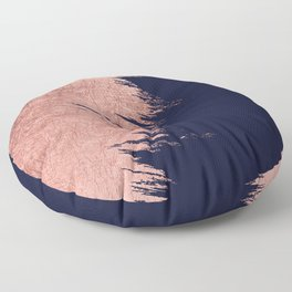 Navy blue abstract faux rose gold brushstrokes Floor Pillow