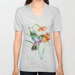 Hummignbird and Flowers Unisex V-Neck