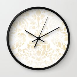 Vintage Floral Pattern White Wash Wall Clock