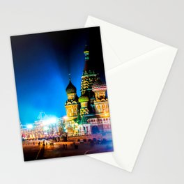 Moscow Kremlin And Red Square At Winter Night Stationery Cards