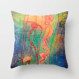 Jellyfish Bliss Throw Pillow