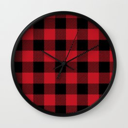 Classic Red and Black Buffalo Plaid Wall Clock