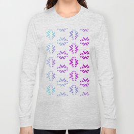 Pink teal abstract watercolor geometric pattern Long Sleeve T-shirt