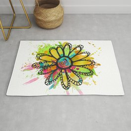 GC031-10 Colorful watercolor doodle flower green and purple Rug