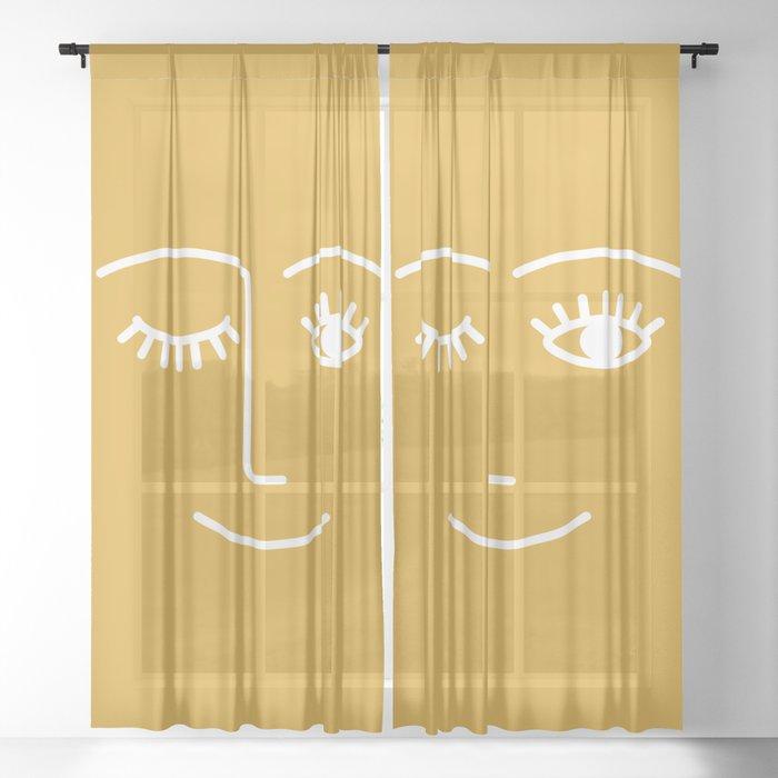 wink / mustard Sheer Curtain