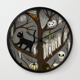 halloween tree Wall Clock