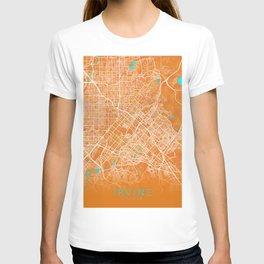 Irvine, CA, USA, Gold, Blue, City, Map T-shirt