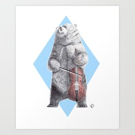 Cellist bear Art Print