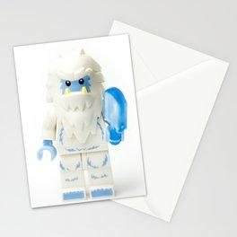 White Yeti Minifig eating an icecream Stationery Cards