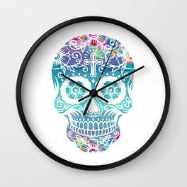 Watercolor floral sugar skull Wall Clock