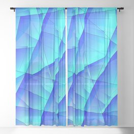 Abstract celestial pattern of blue and luminous plates of triangles and irregularly shaped lines. Sheer Curtain