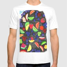 Fruit With Crosshatch White MEDIUM Mens Fitted Tee