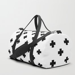 Black and White Swiss Cross Pattern Duffle Bag