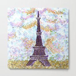 Eiffel Tower Pointillism by Kristie Hubler Metal Print