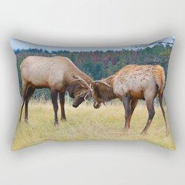 Bull elk in the rut season in Jasper National Park Rectangular Pillow