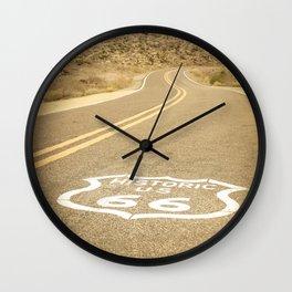 Artistic photo of historic route 66 Arizona USA yellow retro color Wall Clock