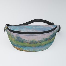 Landscape with lake, fields, forest and blue sky drawing by pastel Fanny Pack