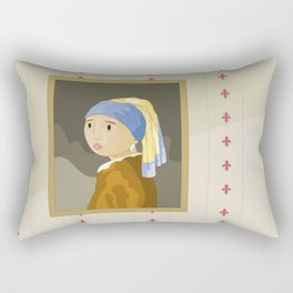 Girl with pearl by Vermeer  Rectangular Pillow