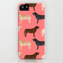 Labrador retriever coats of all colors dog breed pet portraits dogs pets unique pet themed gifts iPhone Case