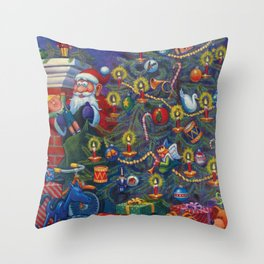 Santa Putting Presents Under The Tree Throw Pillow