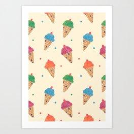 Fun Ice Cream Pattern Art Print