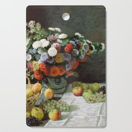 Claude Monet - Still Life with Flowers and Fruit Cutting Board