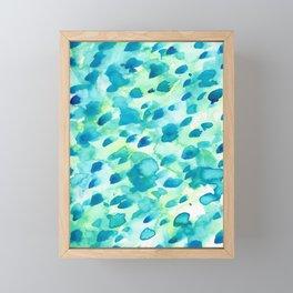 Blue, Green and Aqua Abstract Watercolor Painted Spots Framed Mini Art Print