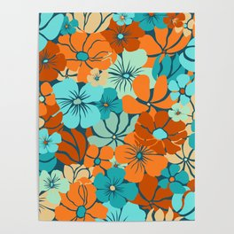 Prints of Flowers, Teal, Yellow, Orange, Colourful Prints Poster