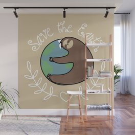 Save The Earth Sloth Wall Mural
