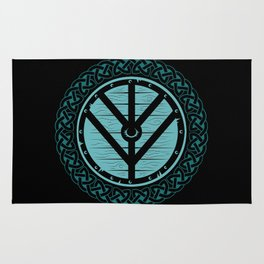 Viking Shield Maiden Norse Knot Work & Teal Shield Rug