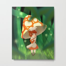 Mushroom Girl Metal Print