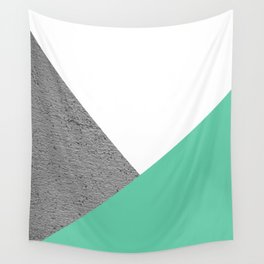 Concrete vs Aquamarine Geometry Wall Tapestry