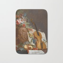 Still life with flowers and a violin, 1750 Bath Mat